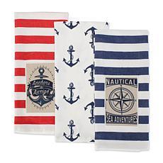 Design Imports Maritime Embellished Kitchen Towel Set of 3
