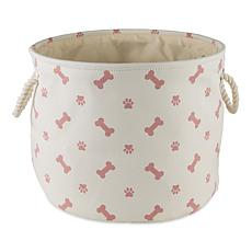 Design Imports Polyester Round Pet Bin Paws & Bones Medium