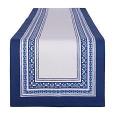 "Design Imports Porto Stripe Print Table Runner 14"" x 108"""
