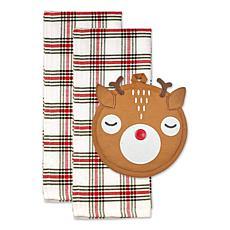 Design Imports Rudy Reindeer Potholder Gift Set of 3