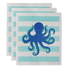 Design Imports Set of 3 Octopus Swedish Dishcloths