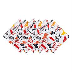 Design Imports Set of 6 BBQ Fun Print Outdoor Napkins