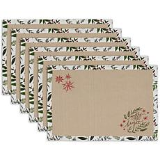 Design Imports Set of 6 Merry & Bright Embellished Placemats