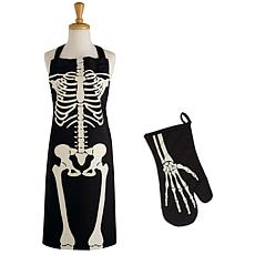 Design Imports Skeleton Apron & Oven Mitt Set