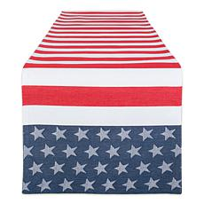 "Design Imports Stars and Stripe 14"" x 72"" Jacquard Table Runner"