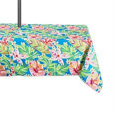 "Design Imports Summer Floral Outdoor Tablecloth w/Zipper - 60"" x 84"""