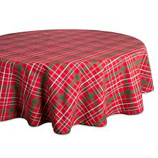 "Design Imports Tartan Holiday Plaid Tablecloth - 70"" Round"
