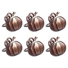 Design Imports Thanksgiving Pumpkin Napkin Rings Set of 6
