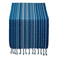"Design Imports Tonal Stripe with Fringe Table Runner - 14"" x 72"""