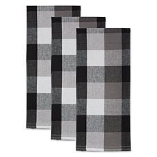 Design Imports Tri-Color Check Kitchen Towels 3-Pack