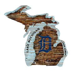 Detroit Tigers 24in. Distressed State w/Logo Sign