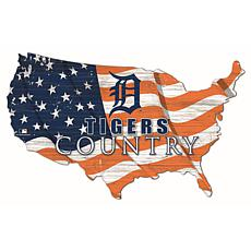 Detroit Tigers USA Shape Flag Cutout