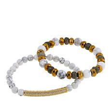 Devoted Jewelry Howlite and Multistone 2-piece Stretch Bracelet Set