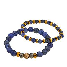 Devoted Jewelry Sodalite and Multistone 2-piece Stretch Bracelet Set