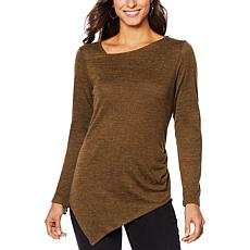 DG2 by Diane Gilman Asymmetric Brushed Knit Tunic Top