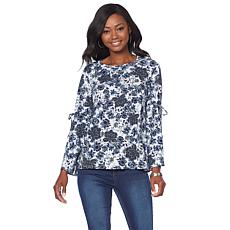 DG2 by Diane Gilman Bell-Sleeve Top with Tie Sleeves