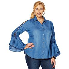DG2 by Diane Gilman Button-Front Denim Shirt with Lace-Up Sleeves