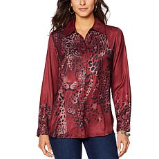 DG2 by Diane Gilman Charmeuse Animal-Print Button Front Top