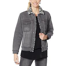 DG2 by Diane Gilman Classic Stretch Denim Trucker Jacket with Faux Fur