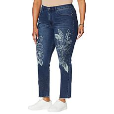 DG2 by Diane Gilman Classic Stretch Embroidered Skinny Ankle Jean