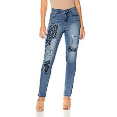 DG2 by Diane Gilman Classic Stretch Patched Embroidered Jean - Basic