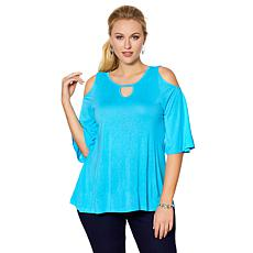 DG2 by Diane Gilman Cold-Shoulder Keyhole Top
