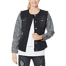 DG2 by Diane Gilman Collarless Tweed Classic Stretch Denim Jacket