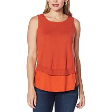 DG2 by Diane Gilman Combo Sweater Knit Layered Easy Tank