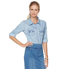 DG2 by Diane Gilman Denim Shirt with Embellished Pocket