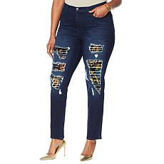 DG2 by Diane Gilman Destructed Sequin Patched Skinny Jean