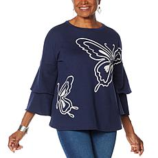 "DG2 by Diane Gilman ""DG Downtime"" Butterfly Fleece Sweatshirt"