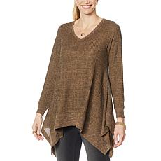 """DG2 by Diane Gilman """"DG Downtime"""" Drama Top with Combo Fabric"""
