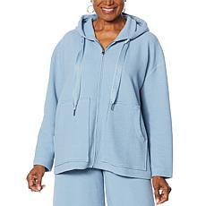 "DG2 by Diane Gilman ""DG Downtime"" Textured Knit Zip-Front Hoodie"
