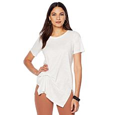 DG2 by Diane Gilman Draped and Gathered Knot Side Tee