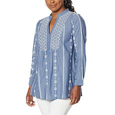 DG2 by Diane Gilman Embroidered Chambray Tunic