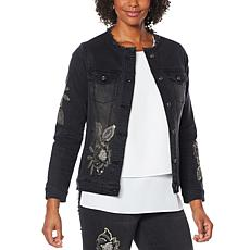 DG2 by Diane Gilman Embroidered Classic Stretch Denim Jacket