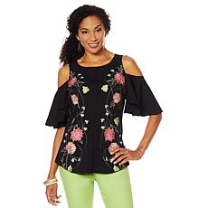 DG2 by Diane Gilman Embroidered Cold-Shoulder Top