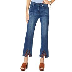 DG2 by Diane Gilman Embroidered Cropped Slit Boot-Cut Jean - Basic