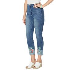 DG2 by Diane Gilman Embroidered Cuff Cropped Skinny Jean