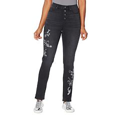 DG2 by Diane Gilman Embroidered Exposed Button Pull-On Jegging