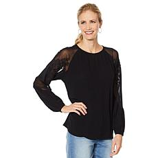 DG2 by Diane Gilman Embroidered Sheer Shoulder Top