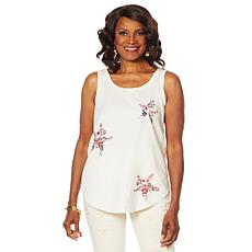 DG2 by Diane Gilman Embroidered Star Tank