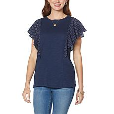 DG2 by Diane Gilman Eyelet Lace Flutter-Sleeve Top