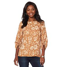 DG2 by Diane Gilman Floral Cinch-Sleeve Blouse