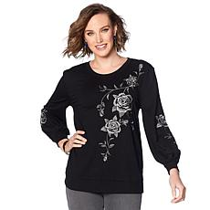 DG2 by Diane Gilman Floral Embroidered Sweatshirt