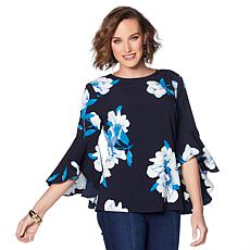 DG2 by Diane Gilman Floral-Print Cascade Ruffle-Sleeve Tunic
