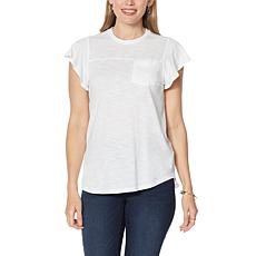 DG2 by Diane Gilman Flutter-Sleeve Pocket Tee