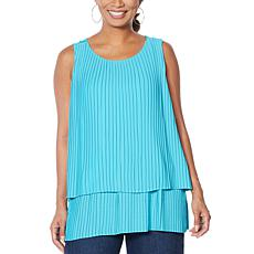 DG2 by Diane Gilman Front-Pleated Mixed Media Easy Tank
