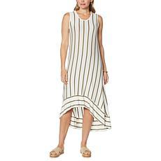 DG2 by Diane Gilman Hi-Low Hem Striped Maxi Tank Dress