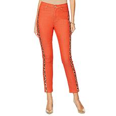DG2 by Diane Gilman Leopard Sequin Stripe Skinny Jean - Burnt Orange